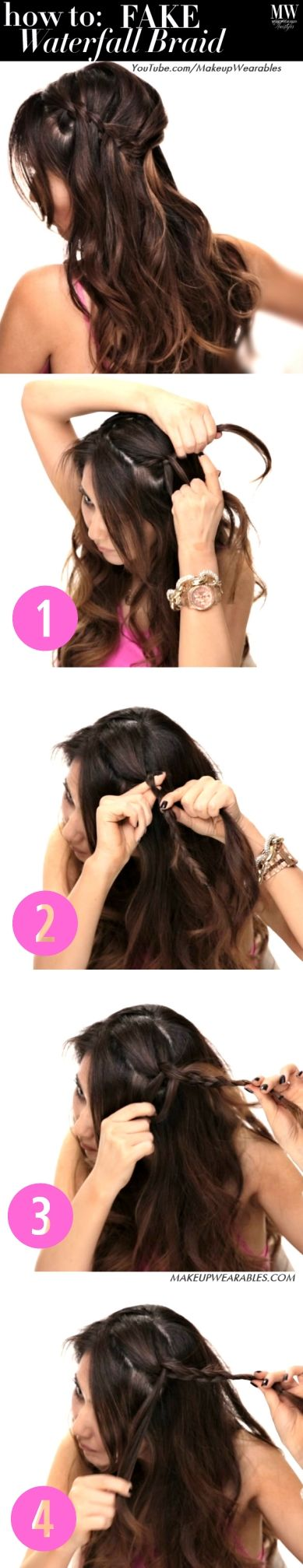 How to do a fake waterfall braid hairstyle - easy hairstyles for long hair tutorial