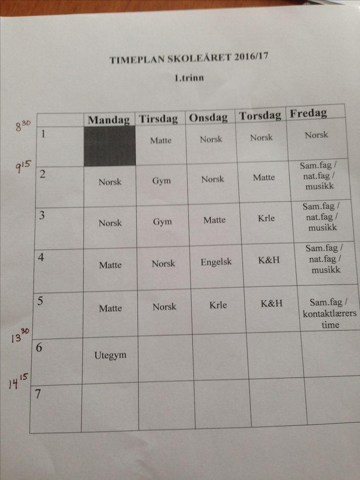 Ulrik sin timeplan 2916/2017