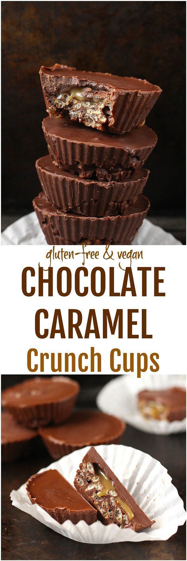 Chocolate Caramel Crunch Cups [Vegan / GF] - These gluten-free and vegan Chocolate Caramel Crunch Cups are a no-bake sweet treat that combines the delicious crunch of brown rice crisps with a sweet, creamy homemade caramel sauce!