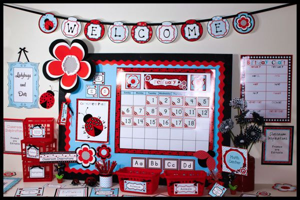 Ladybugs and Dots themed classroom! It has a splash of baby blue color that really makes the designs stand out. There is everything you need from basket labels to banners! $