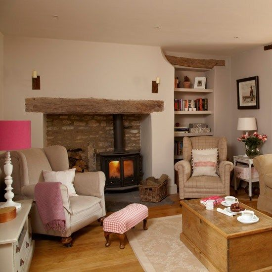 Cosy living with wood burner fire