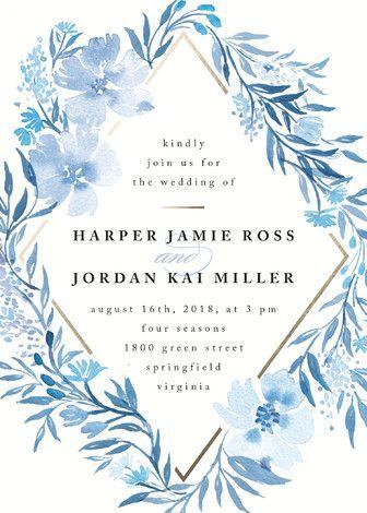 """Poetic Blue"" - Floral & Botanical Wedding Invitations in Sky by Qing Ji."