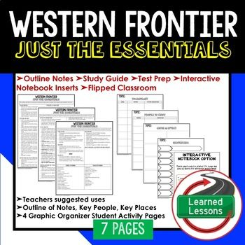 Western Frontier Outline Notes JUST THE ESSENTIALS Unit Review, Study Guide, Test Prep American History Outline Notes, American History Test Prep, American History Test Review, American History Study Guide, American History Summer School, American History Unit Reviews, American History Interactive Notebook Inserts