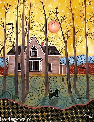 Attentive 11x14 House Birds Trees ORIGINAL Landscape PAINTING FOLK ART Karla G..New painting, just added, now available for sale..