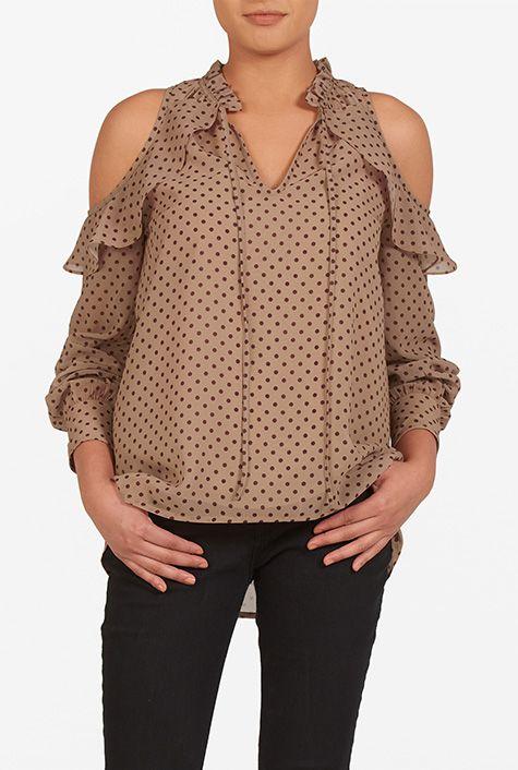 I <3 this Cold shoulder polka dot georgette top from eShakti
