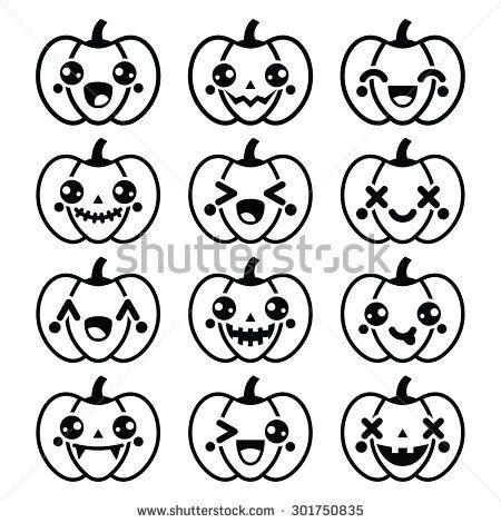 Halloween Kawaii cute black pumpkin icons - vector by RedKoala #adorable #happy #smile #face