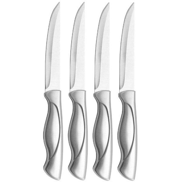 Farberware Stamped Stainless Steel ($23) ❤ liked on Polyvore featuring home, kitchen & dining, cutlery, silver, farberware knives, stainless steel cutlery, stainless steel knives, stainless steel knife set and set of steak knives