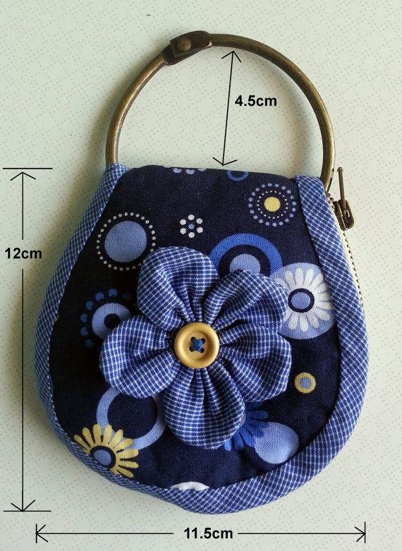 Handmade Key Pouch zipper key holder blue flower by littlecre8tion, $14.95