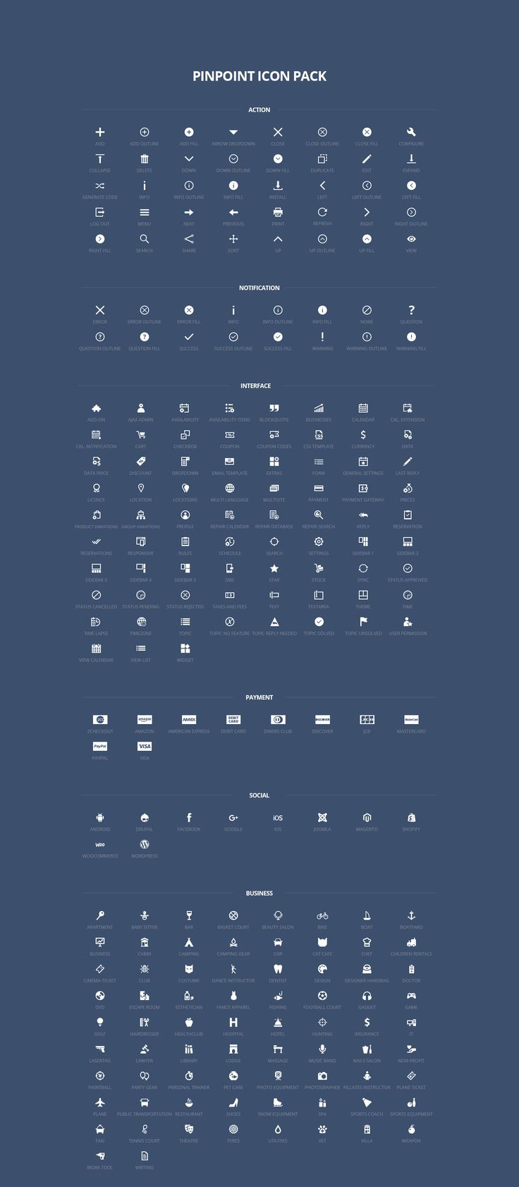The Pinpoint Icon Pack is a free icon set containing several types of illustrations eg. notification icons, action, social, payment, social, interface.