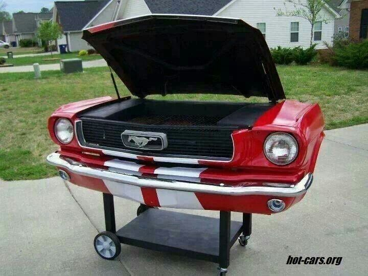 Mustang BBQ Grill. Well at least they left some of the poor Mustang intact