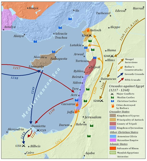 Map of the Crusades and the subsequent Mamluk defeat of the Christian Kingdoms.