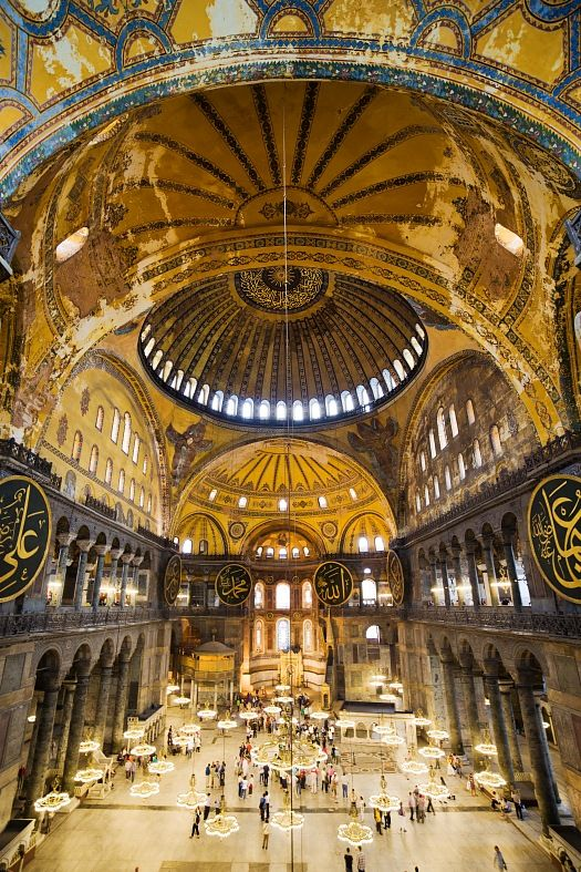 interior of the Hagia Sophia complete with ribbed vaults and rounded arches - a combination of the Romanesque and Gothic styles. awesome.