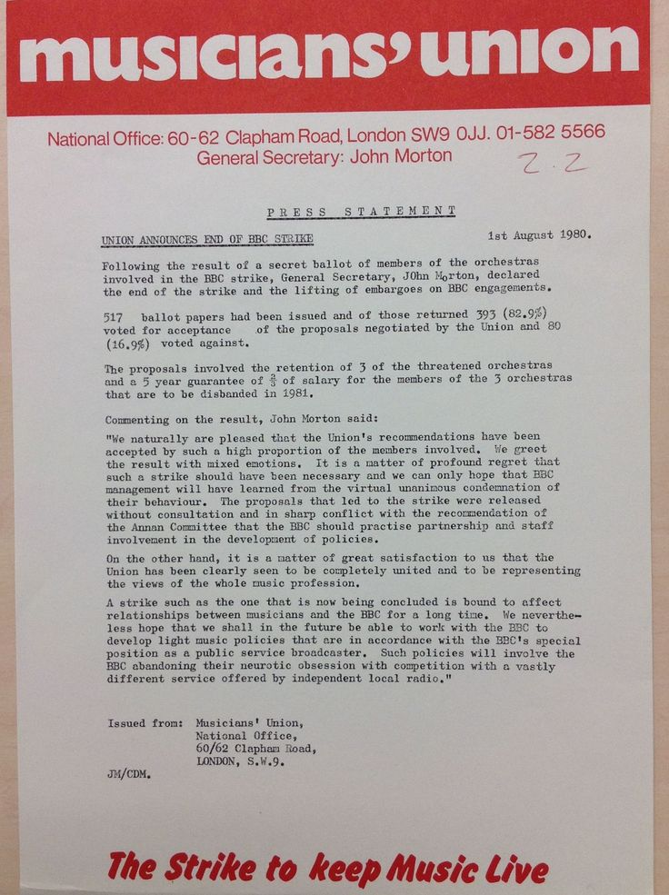 Press release declaring the end of the Union's dispute with the BBC over planned orchestra closures in 1980.