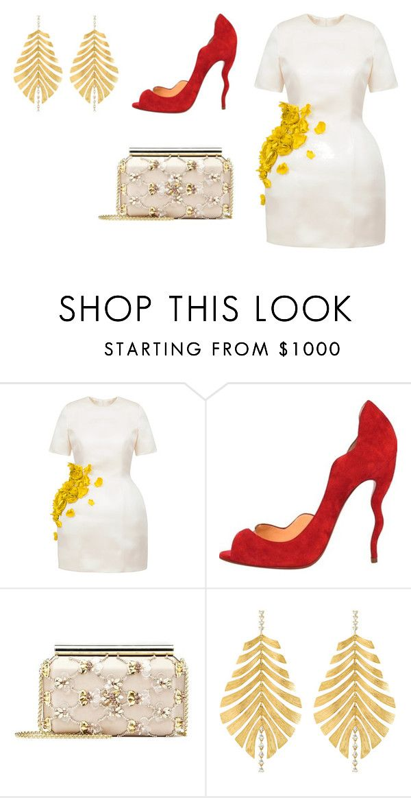 """Sin título #8573"" by ceciliaamuedo ❤ liked on Polyvore featuring Esme Vie, Christian Louboutin, Oscar de la Renta and Hueb"