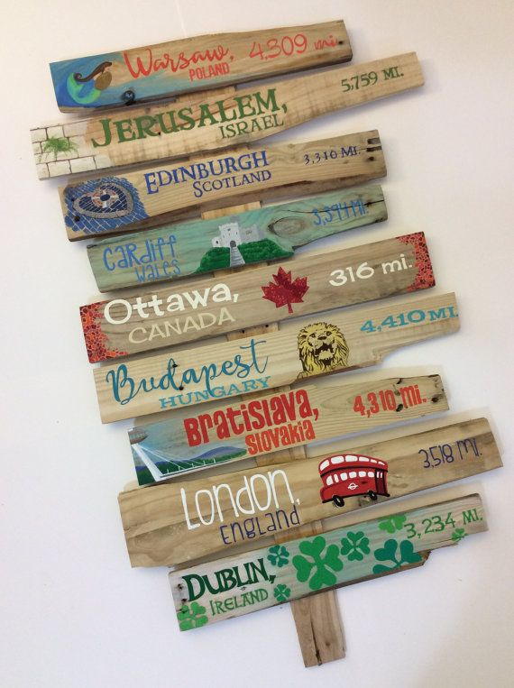 Set of 8 Custom Illustrated Signpost Signs, destination signpost, directional signs, mileage signs, H&G sign, beach sign, mile marker sign