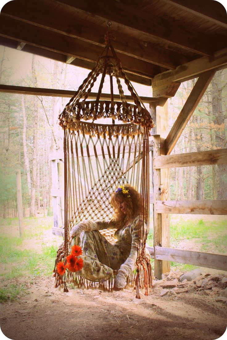 Handmade OAK Macrame Vintage Retro Style Hanging Woodstock Hippie Elf Fairy Swing Chair