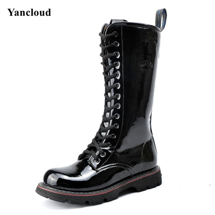 New 2017 Spring Fashion Punk Rock Patent Leater Military Boots for Men Quality Martin boots Male Long Motorcycle Boots