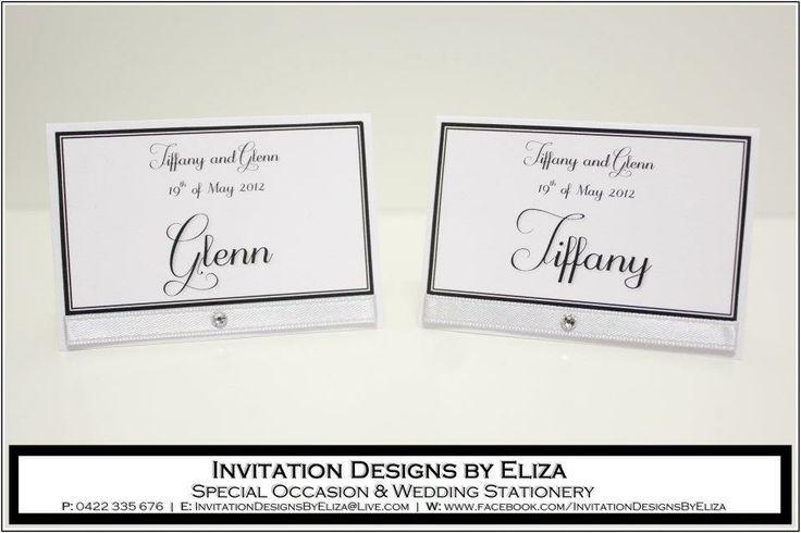 Place Tag Designs  {Wedding} Silver, Black & White Theme www.facebook.com/InvitationDesignsByEliza