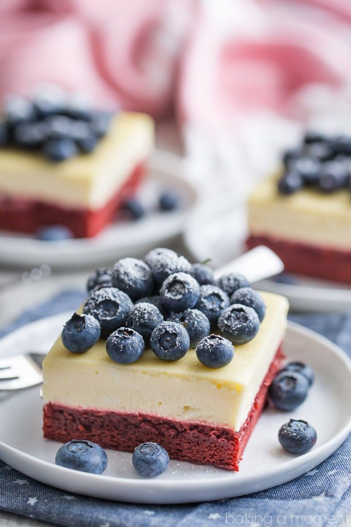 made these red velvet cheesecake bars for the 4th of July and they ...