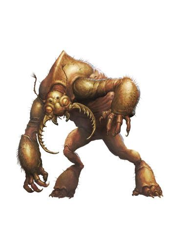 Umber hulks look somewhat like a cross between a gorilla and a beetle. Their most prominent feature is probably the huge pair of mandibles, each roughly as tall as a halfling. Four eyes, one pair multifaceted, the other seemingly normal allow it to both see in the darkness in which it lives and somehow befuddle their enemies with merely a look. Its massive claws tunnel through rock with ease and its thick armor is as strong as full plate mail.