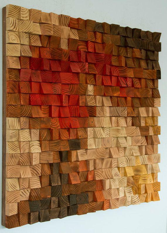 Pared de madera rústica grande arte escultura por ArtGlamourSligo