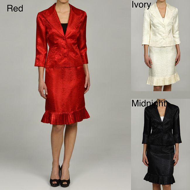 Larry Levine Women's Jacquard Skirt Suit - Overstock™ Shopping - Top Rated Larry Levine Skirt Suits