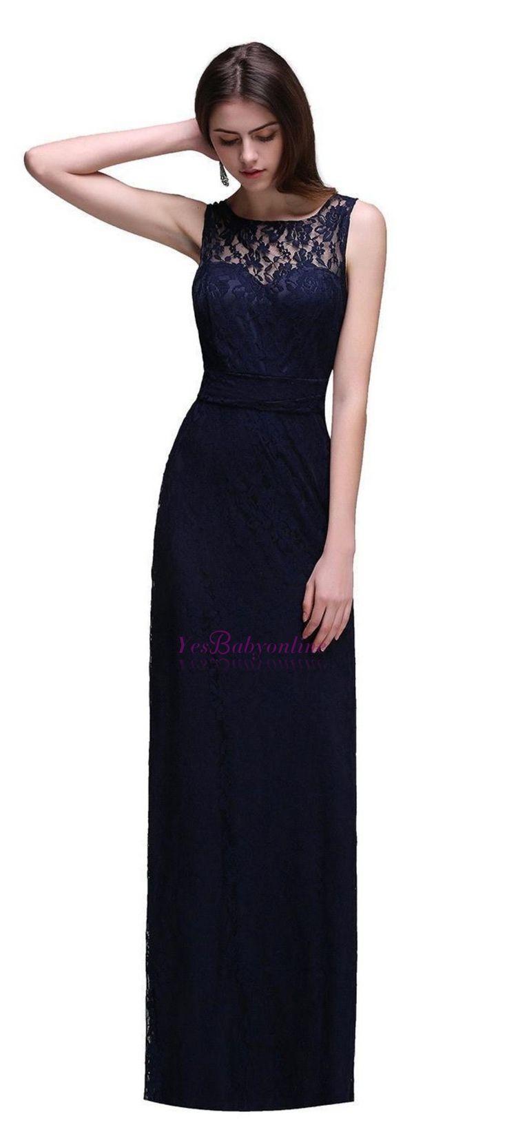 $89-Simple Dark Navy Lace Bridesmaid Dresses Sleeveless Sheath Long Prom Dresses