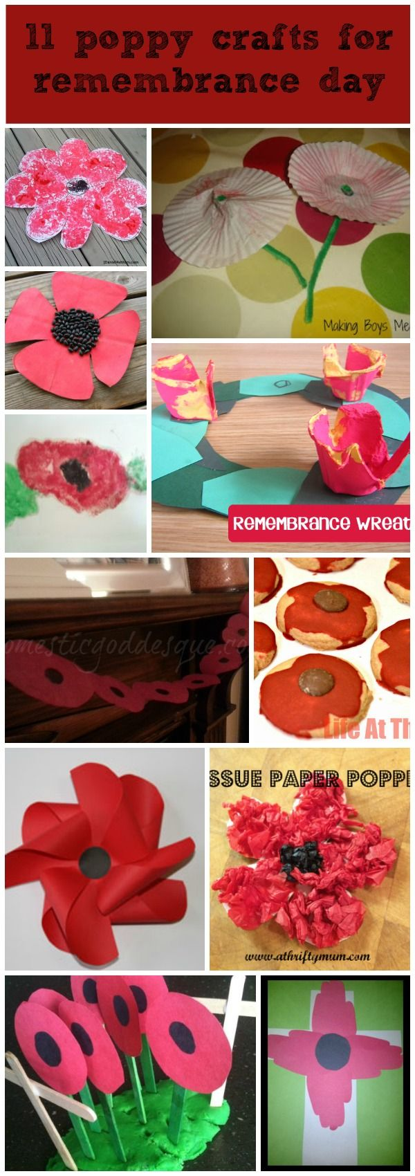 11 poppy crafts for Remembrance Day or Memorial Day www.operationwearehere.com/memorialday.html