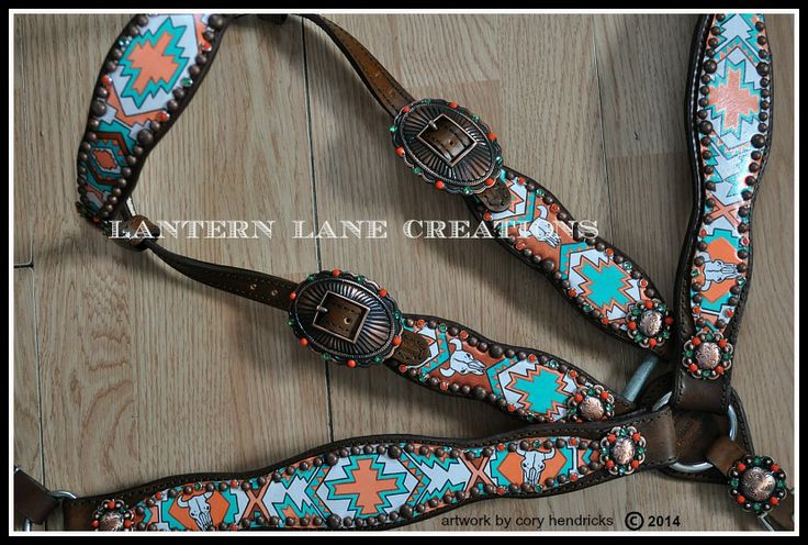 handpainted southwest themed tack set, rimsets of coral and turquoise, antique copper buckles, spots, conchos. Can be done in any color choices!