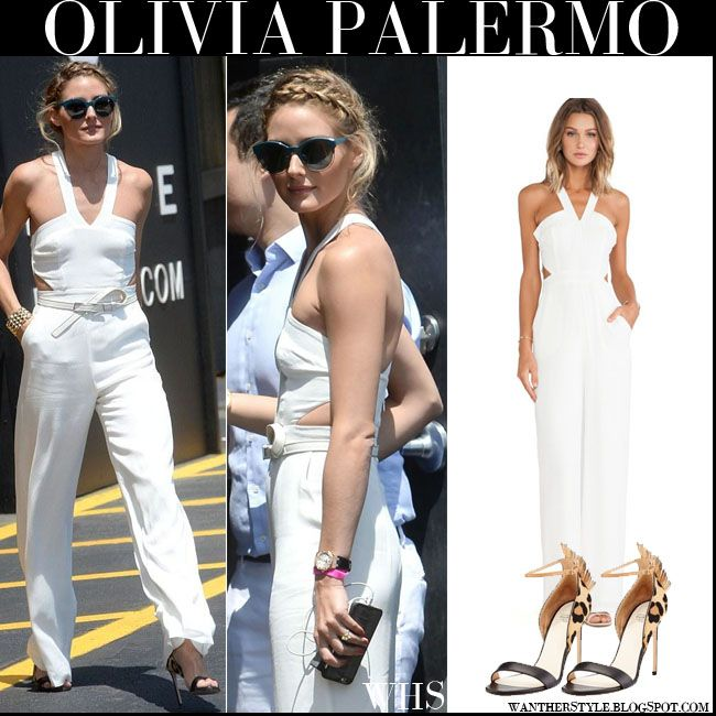 Olivia Palermo in white cut out jumpsuit with leopard print sandals