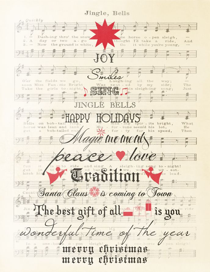 Sheet music, reprinted with word tree, jingle bells, peace, love, etc. and frame for easy decoration!