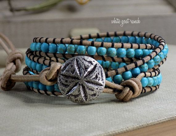 Wrap Bracelet Leather Wrapped Stacking Beach by WhiteGoatRanch