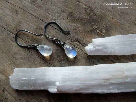 Moonstone earrings drop earrings dangle by WoodlandAndMoon on Etsy