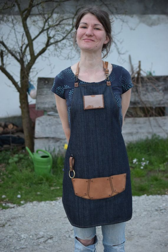 Blue Jeans leather bartender  barista apron with leather by Dragoj