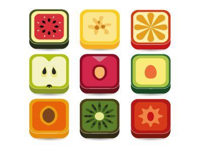 fruit app icons by Marie Nimrichterova