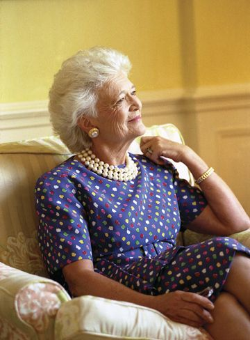 lovely photo of Barbara Bush...strong character, fierce in her love of family, witty, warm, smart . . . and more.
