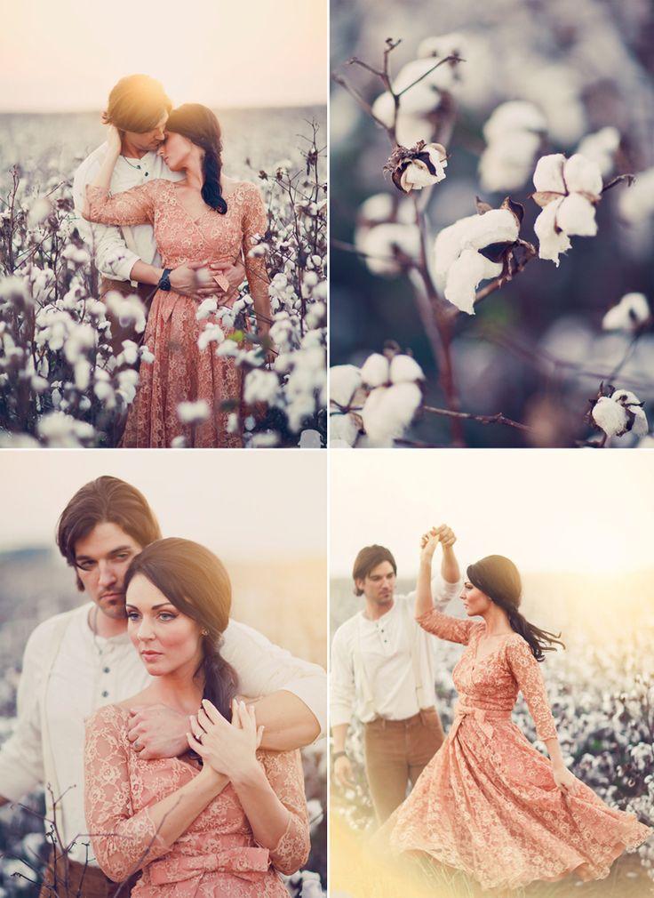   vintage + cotton field + engagement  