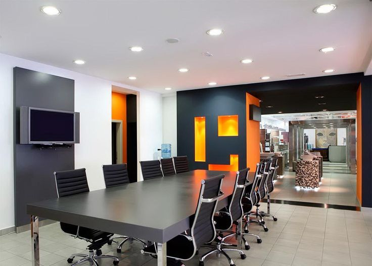 office modern interior design. black white orange wall color for modern office meeting interior what are the best colors design