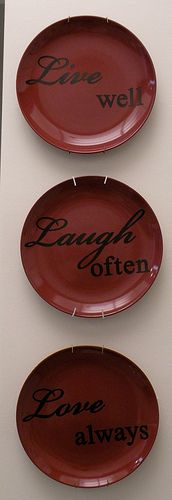 plates DIY with vinyl letters. Cheap & easy think Dollar Tree  Would be cute with the vinyls  I got your for x mas.
