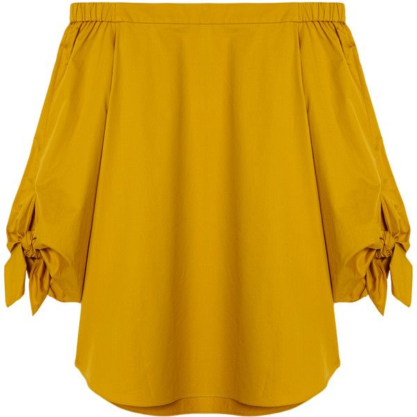 Tibi Satin Poplin Off-the-Shoulder Tunic ($295) ❤ liked on Polyvore featuring tops, tunics, sinapis yellow, satin tunic, satin top, off shoulder tunic, tibi top and poplin top