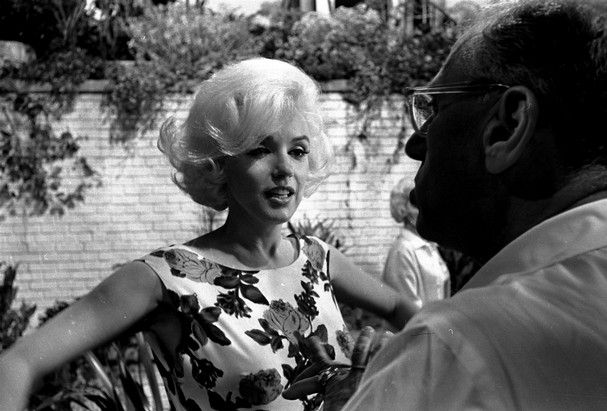 Director George Cukor (Hungarian director) talks with Marilyn Monroe on the set of 'Something's Got To Give,' in Hollywood April 30, 1962.