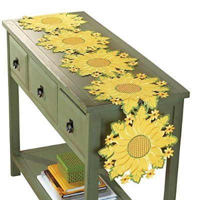 Collections Etc Embroidered Sunflower Table Runner