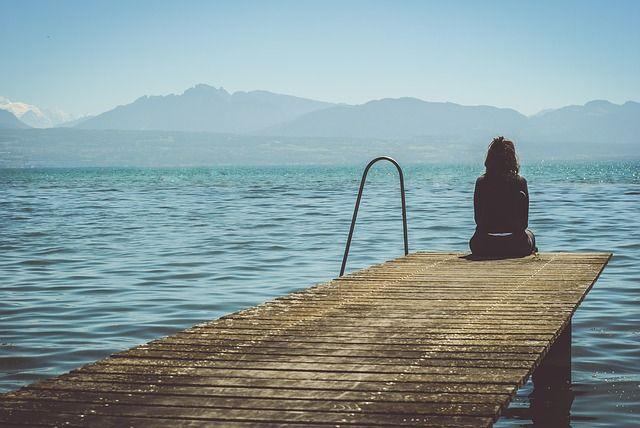 Solo, Hermosa, Muelle, Lago, Al Aire Libre, Persona