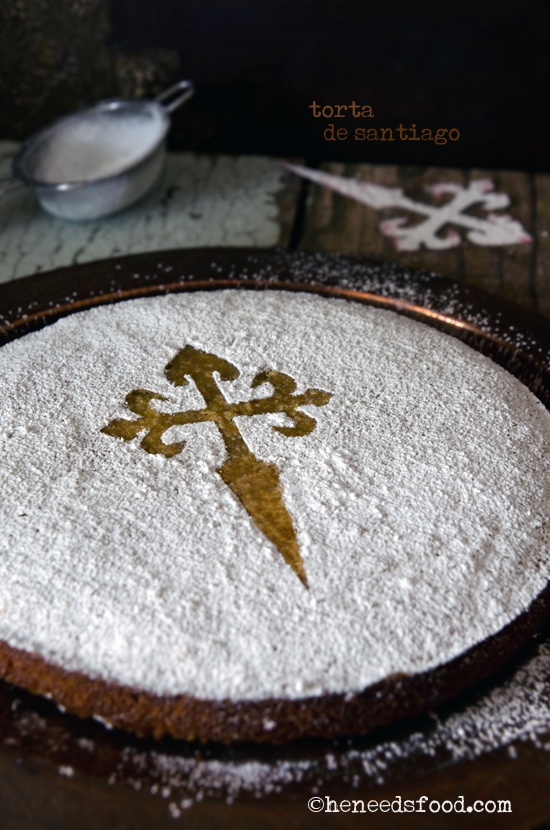 Torta de Santiago--using a stencil for simple decorating according to day.  Having visited Santiago 6 months ago, we are definitely doing this on his feast day in July.