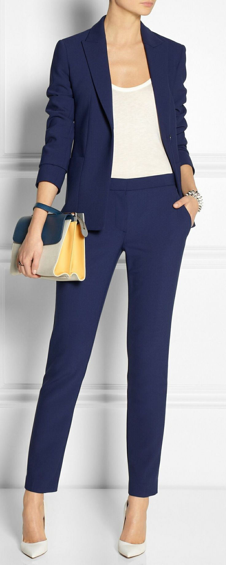 Got the trousers and blazer, and the handbag Need white tank and shoes