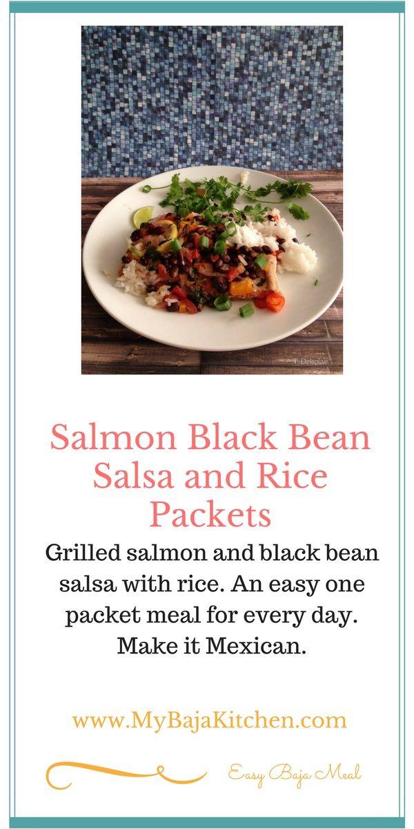 Salmon, rice and black bean salsa bowls. #Taco bowls. #Salmon bowls.