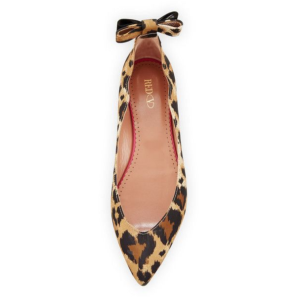 Red Valentino Leopard-Print Bow-Back Ballerina Flat ($237) ❤ liked on Polyvore featuring shoes, flats, leopard print ballet flats, ballet flat shoes, slip-on shoes, pointed toe flats and leopard ballet flats