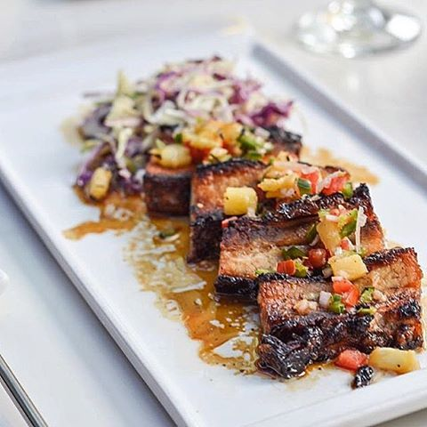 Roasted Pork Belly with Thai Pineapple Salad and Yuzo Cole Slaw. Eat with the slaw and you will be in heaven @jellyfishchicago  #hungerlust #chicago #pork #thai #foodie #foodporn #hangry #MoreMeatMonday