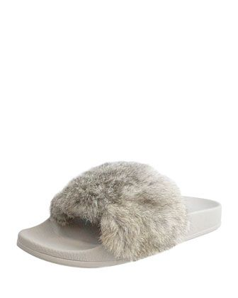 Cruise+Rabbit-Fur+Slide+Sandal+by+Lust+for+Life+at+Neiman+Marcus+Last+Call.