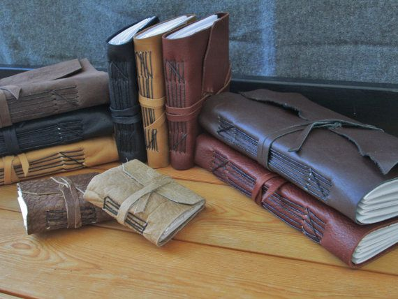Custom Leather Journals Choose Size & Color by FolkOfTheWoodCrafts